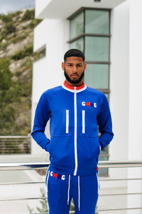 NIPSEY BLUE ZIP JACKET BLUE/WHITE/RED - Gxng