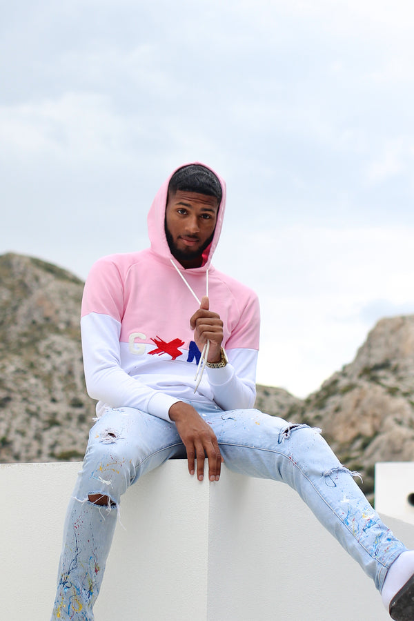 GXNG LOGO HOODIE PINK/WHITE - Gxngclothing