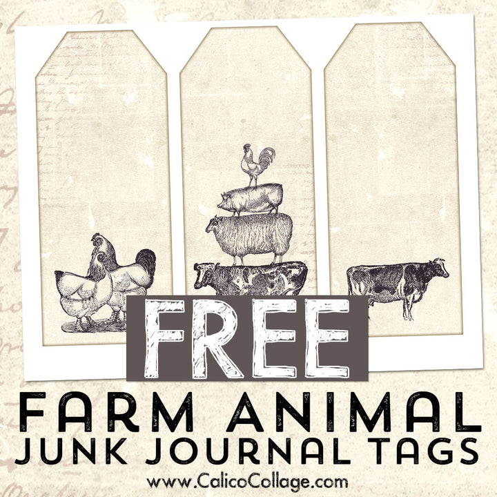Free Farm Animal Junk Journal Tags