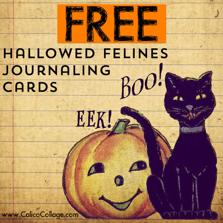 Free Hallowed Felines Journaling Cards