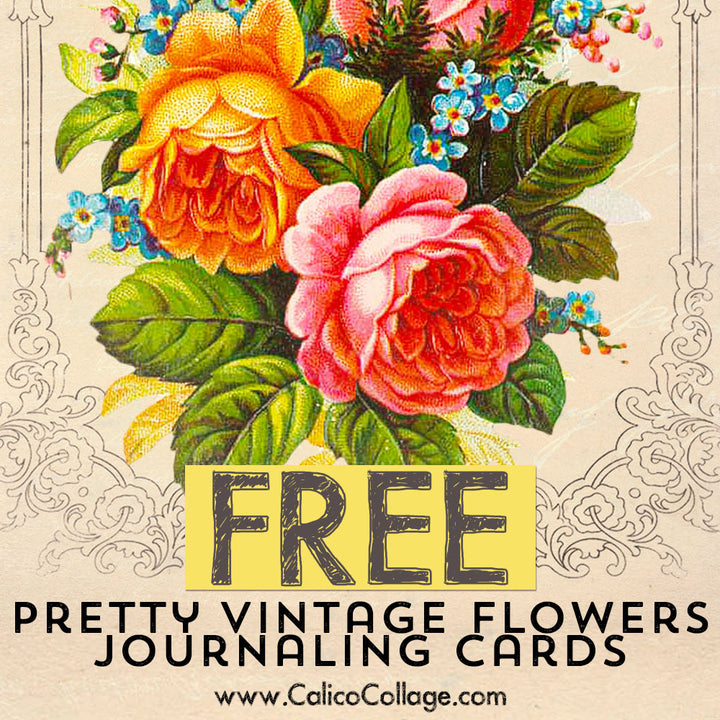 Free Pretty Vintage Flowers Journaling Cards