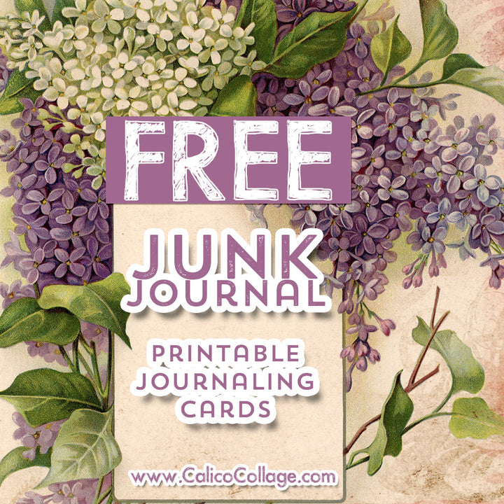 Free Purple Flowers Journaling Cards
