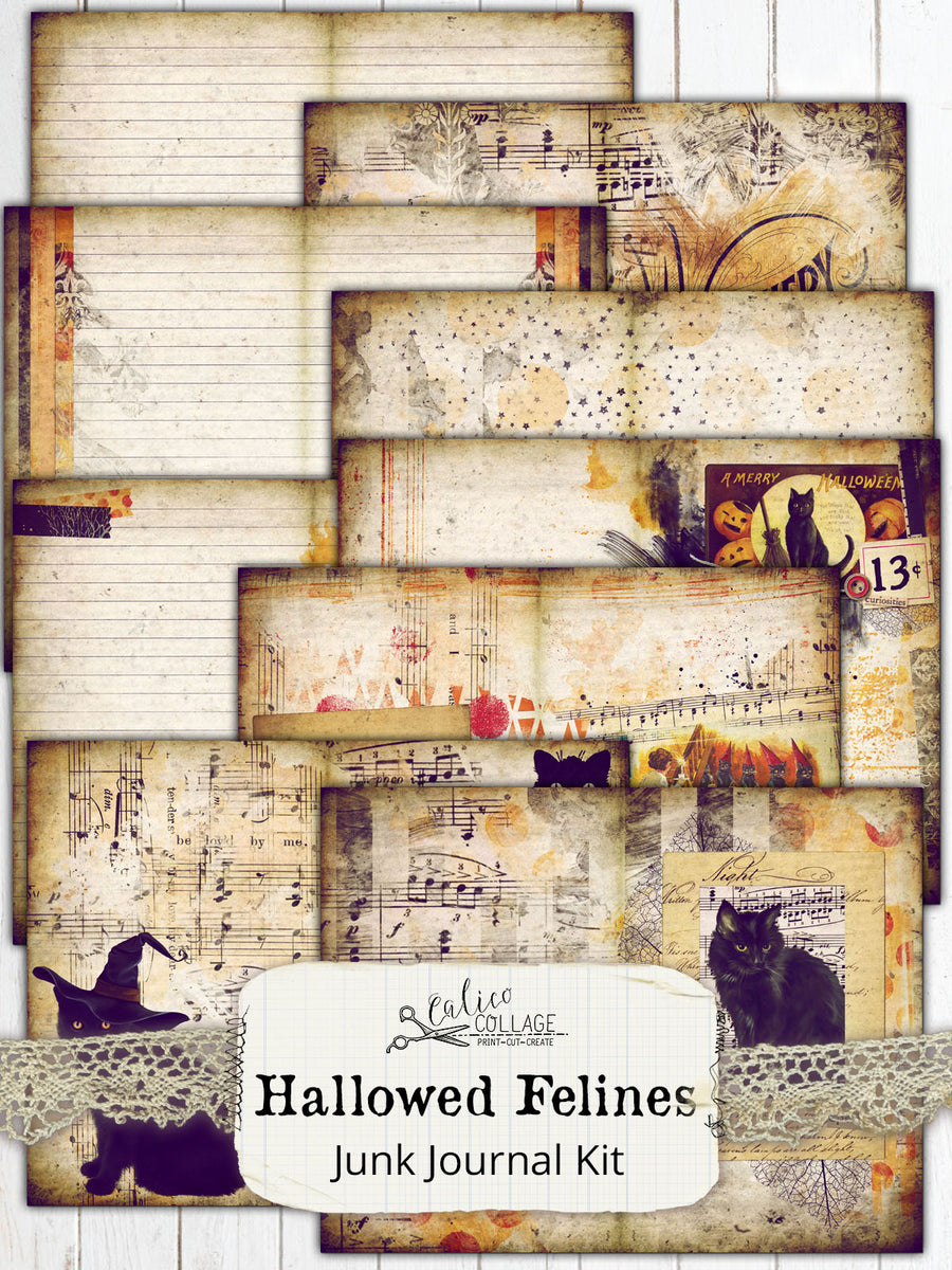 Hallowed Felines Printable Journal Kit