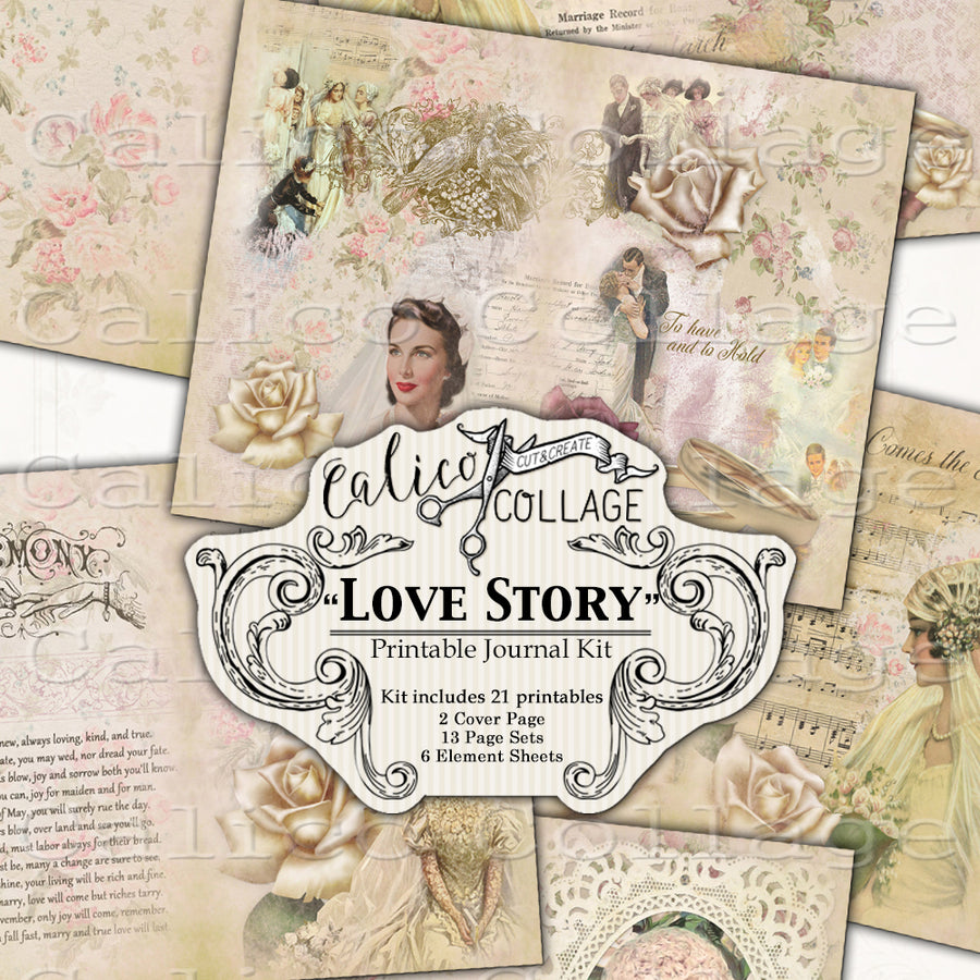 Love Story Junk Journal Kit, Wedding Journal Kit, Ephemera Pack