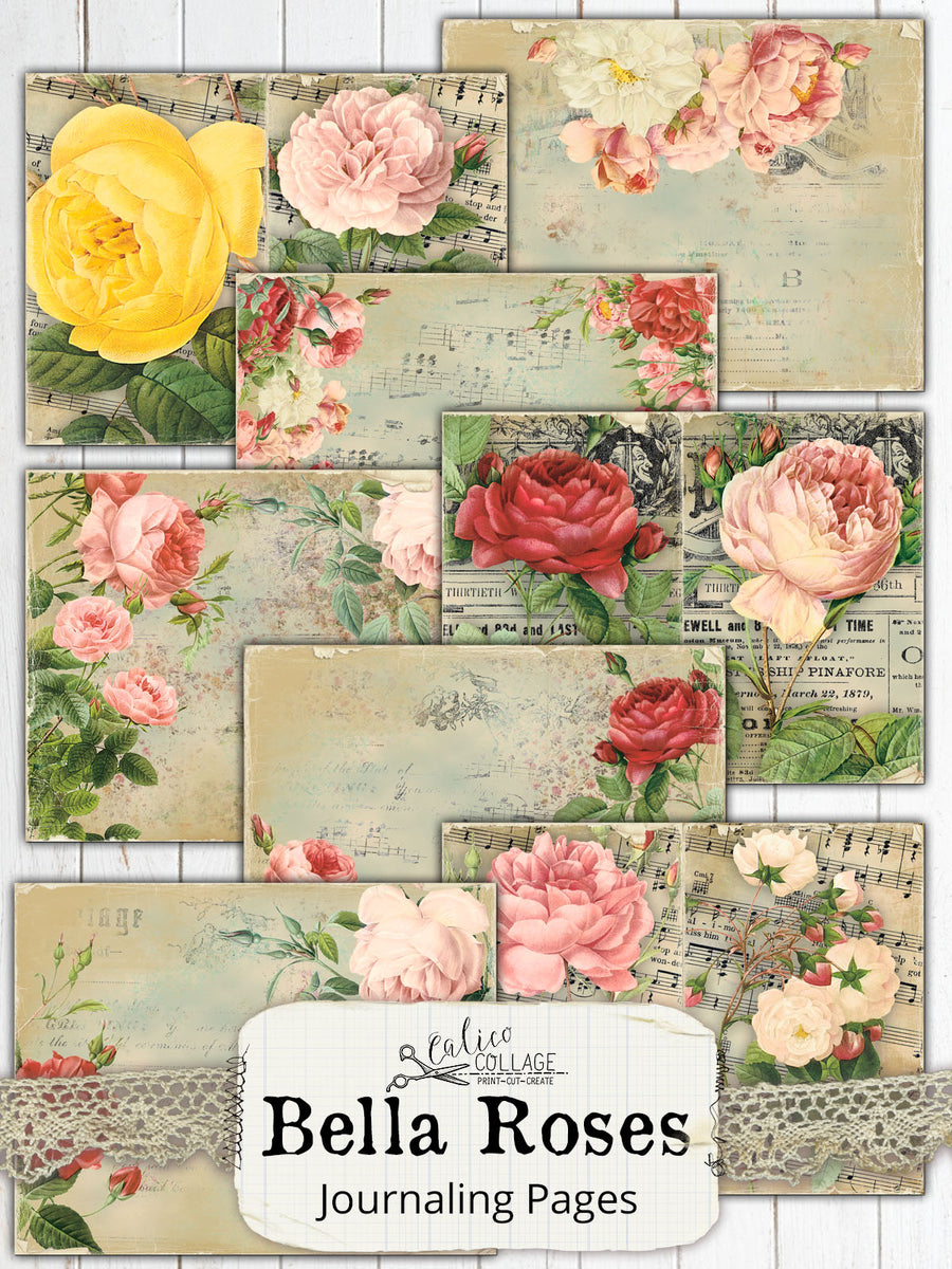 Bella Roses Junk Journal Pages, Rose Ephemera