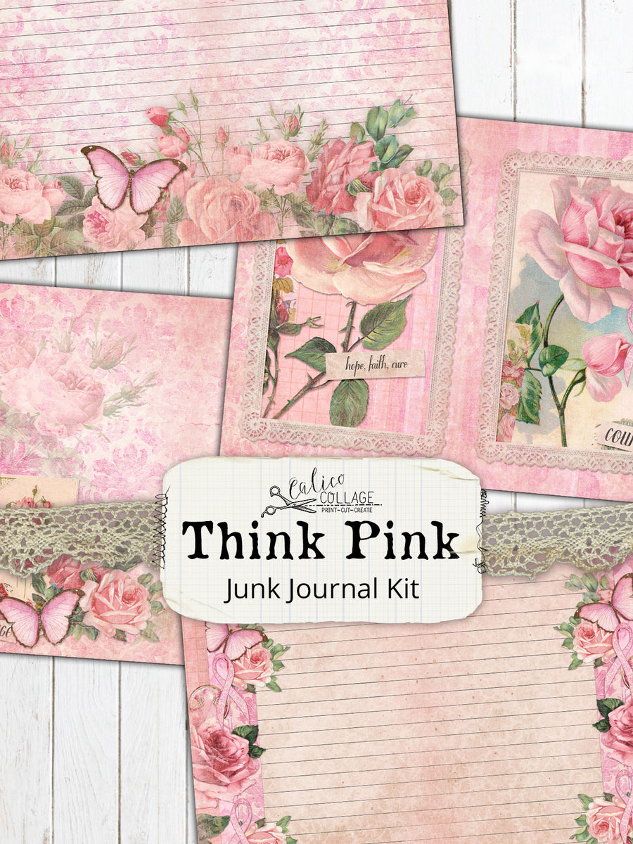 Think Pink Breast Cancer Awareness Junk Journal Kit