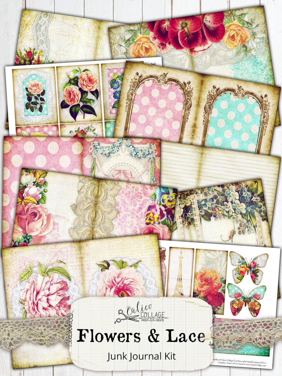 Flowers and Lace Junk Journal Kit, Printable Ephemera