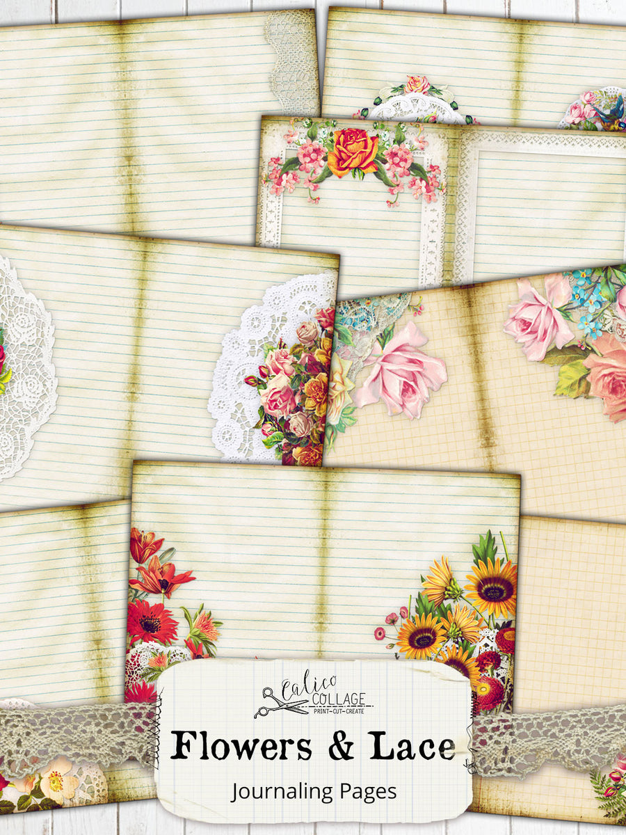 Flowers And Lace Journaling Pages