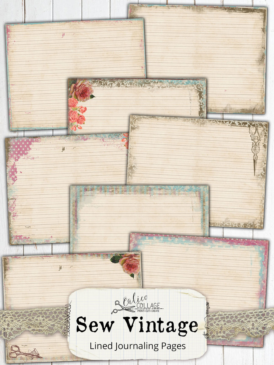 Sew Vintage Junk Journal Lined Pages