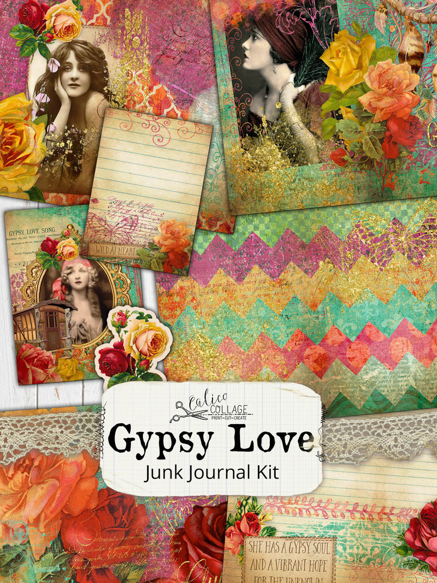 Gypsy Love Junk Journal Kit, Ephemera Pack