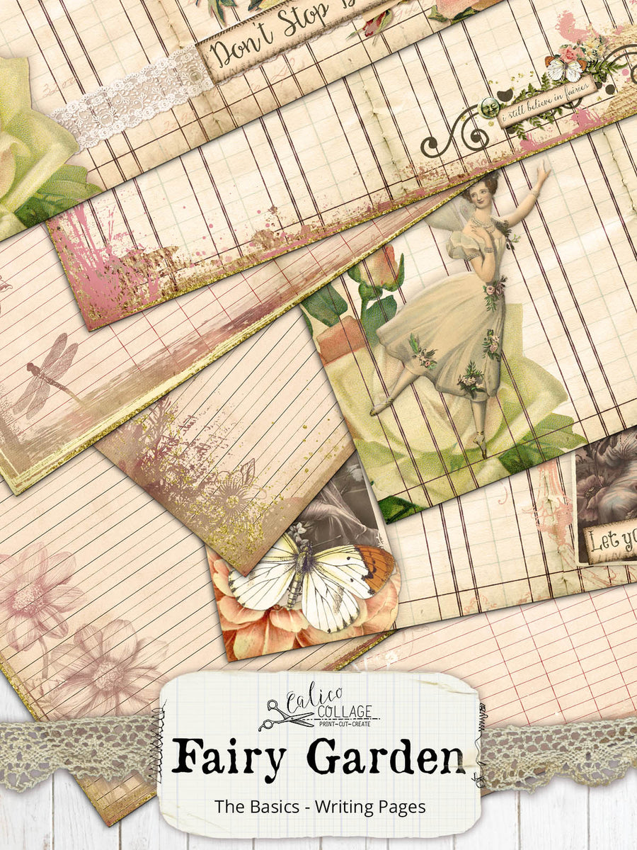 Fairy Garden Printable Lined Journaling Pages