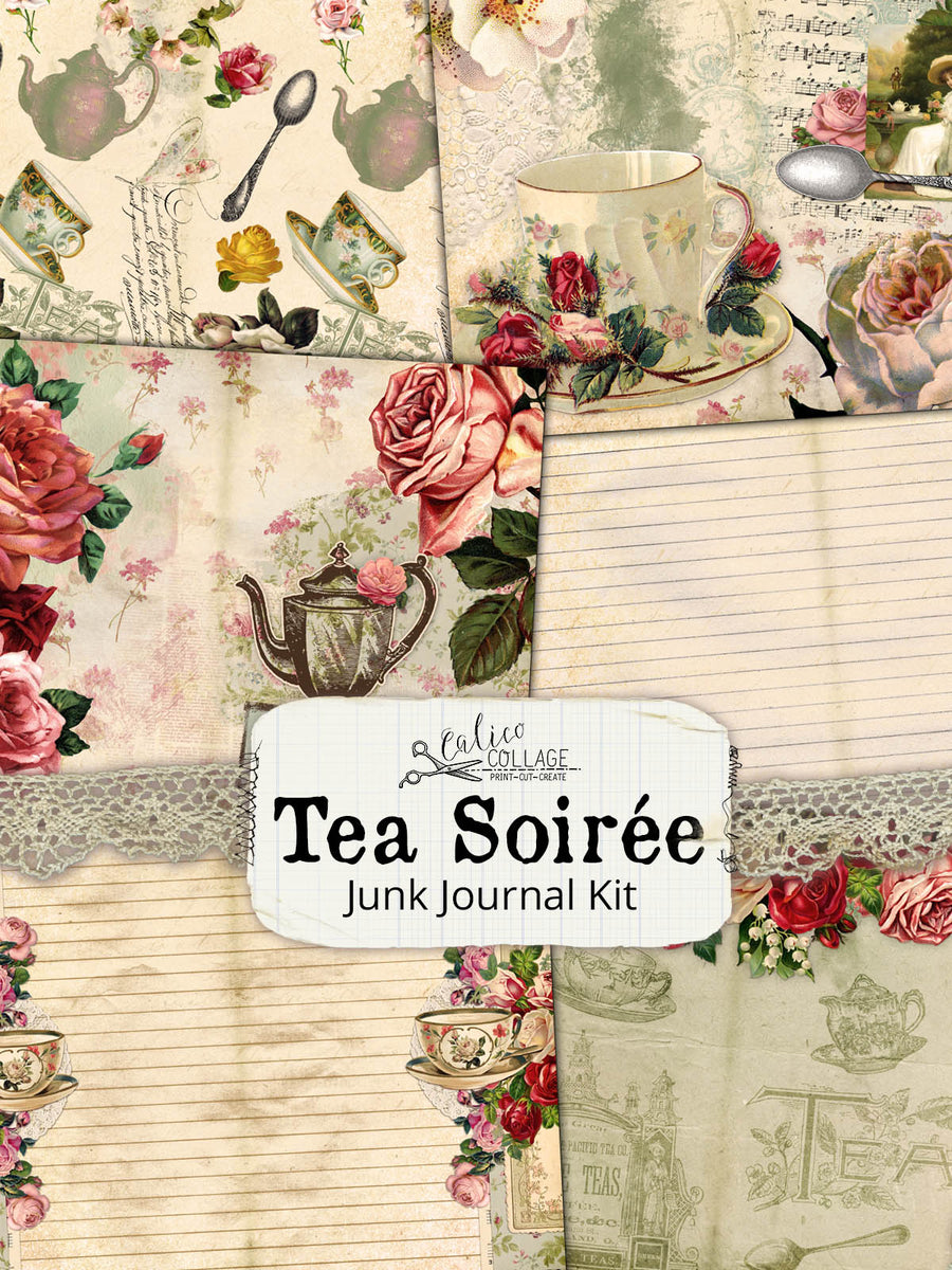 Tea Soiree Junk Journal Kit, Ephemera Pack