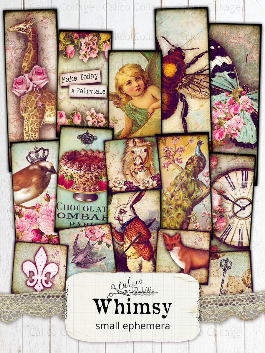 Whimsy Digital Collage Sheets, Small Ephemera Pack