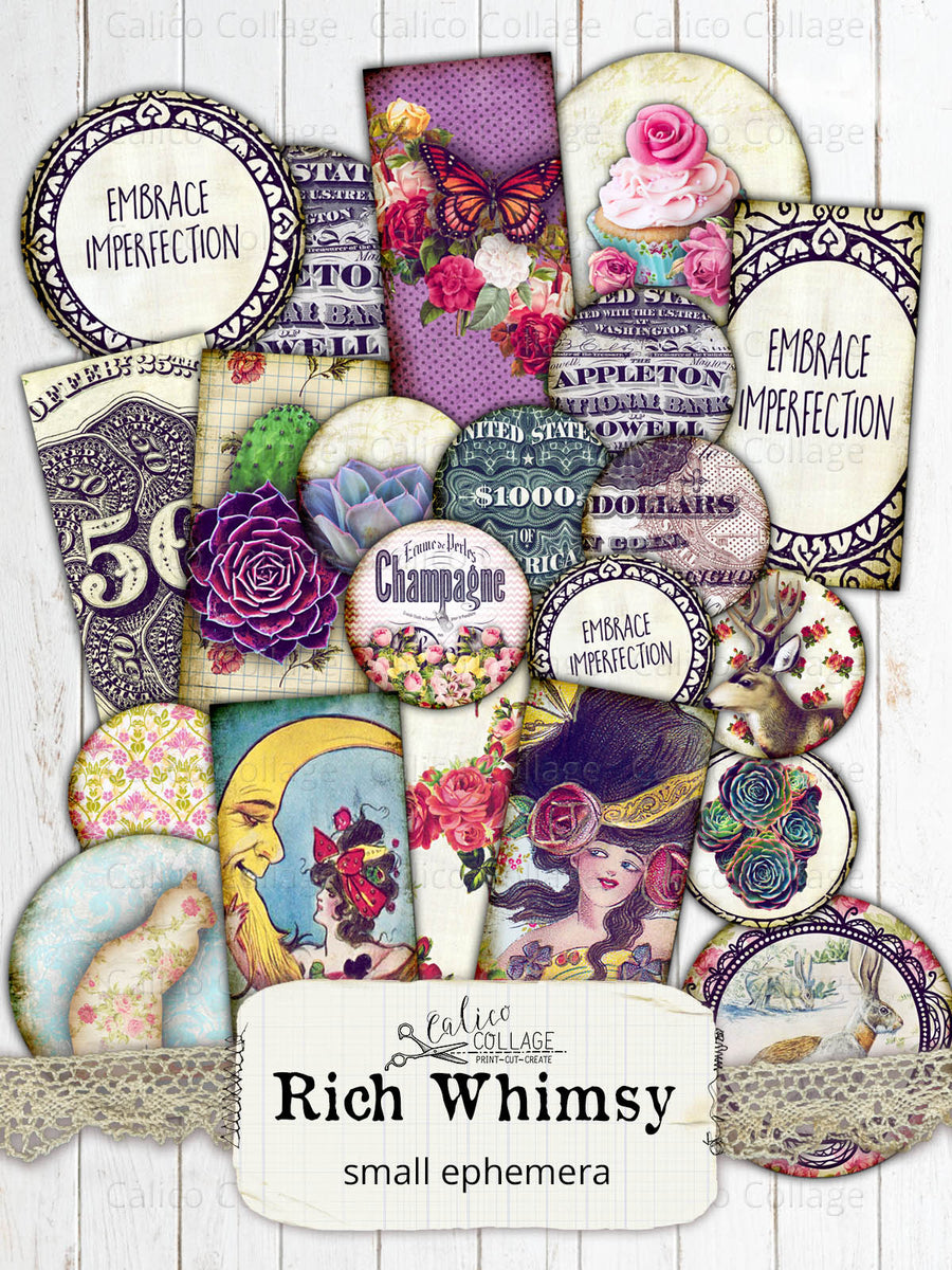 Rich Whimsy Digital Collage Sheets, Small Ephemera Pack
