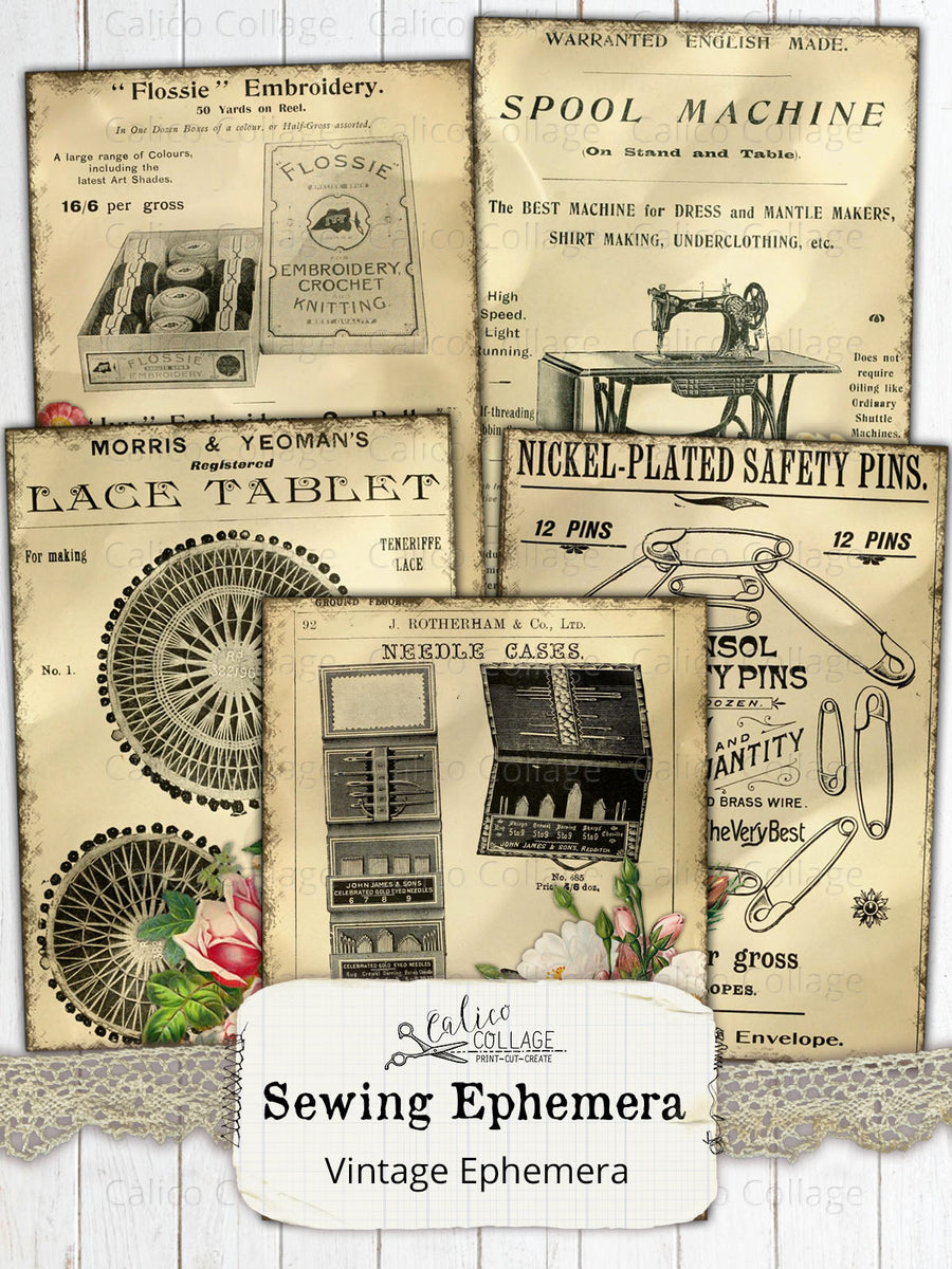 Sewing Ephemera Journaling Cards