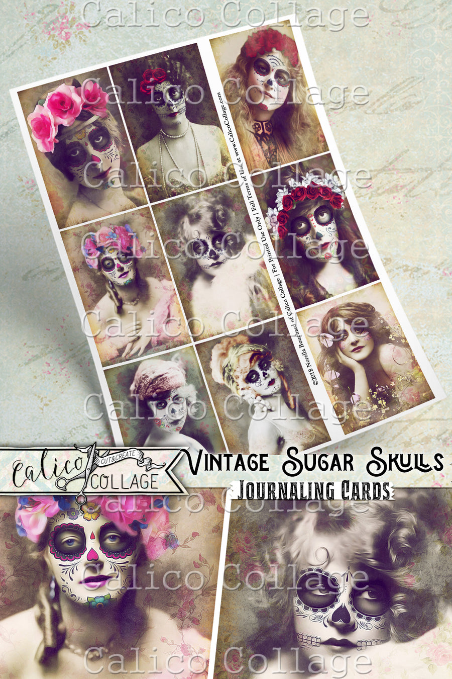 Vintage Sugar Skulls Ephemera Pack Journaling Cards