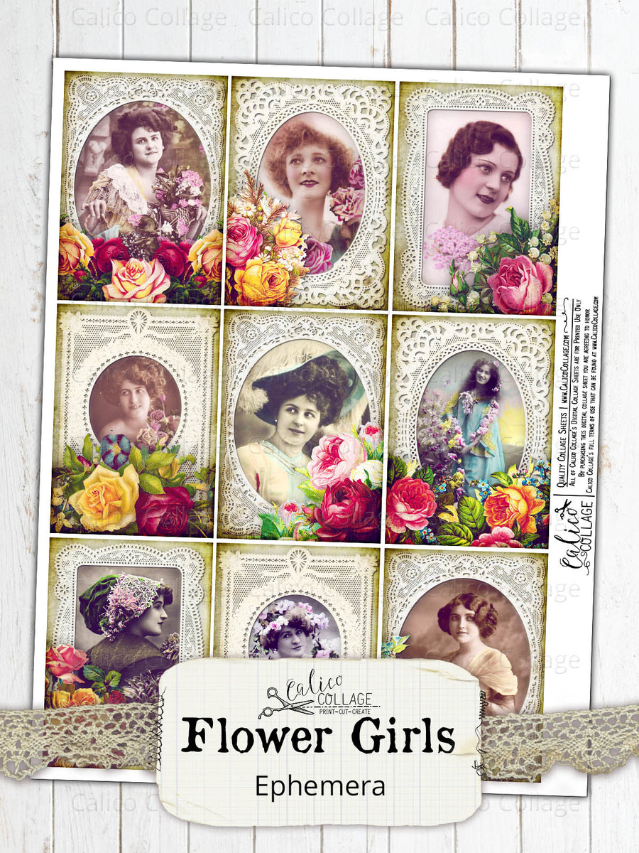 Printable Junk Journal Ephemera, Flower Girls, Flowers and Lace