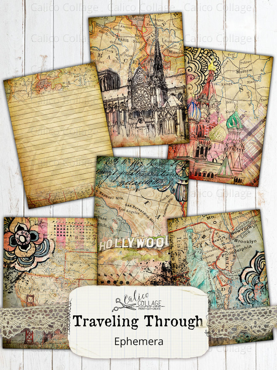 Traveling Through Junk Journal Cards