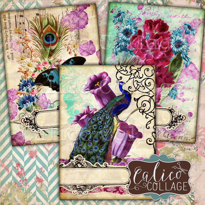 Spring Peacock Journaling Cards