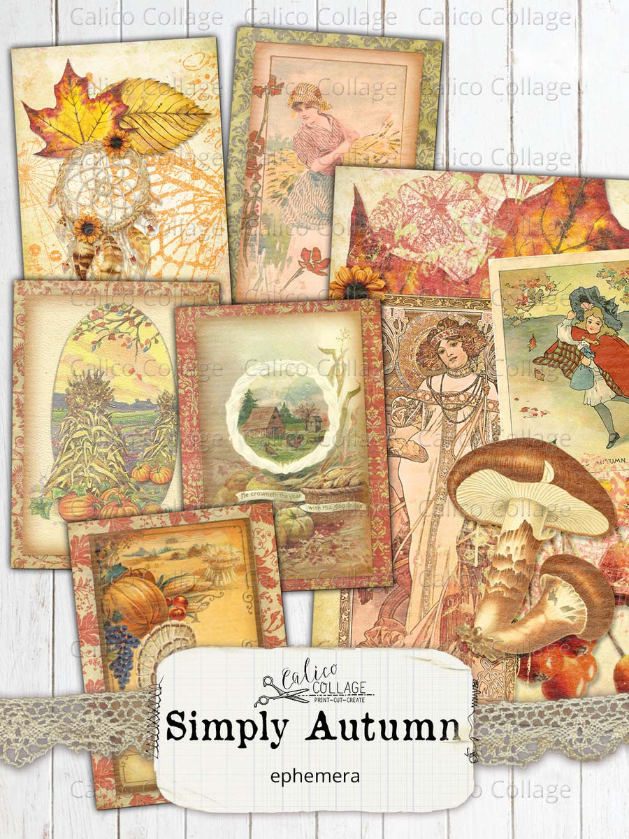 Simply Autumn Junk Journal Ephemera Cards