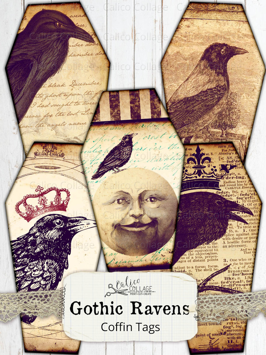 Printable Gothic Raven Coffin Tags, Junk Journal Supplies