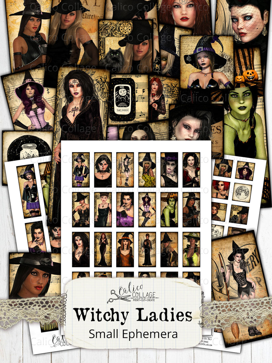Witchy Ladies Small Ephemera Pack, Printable Witch Ephemera