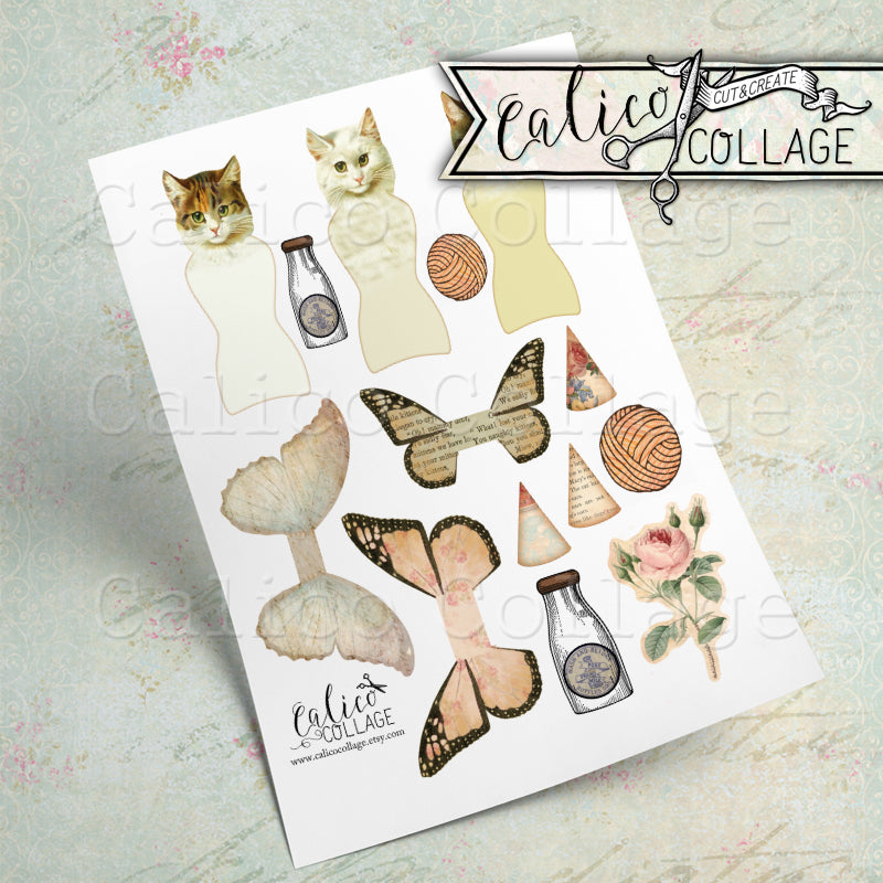 Adorable Kitty Cat Printable Paper Dolls