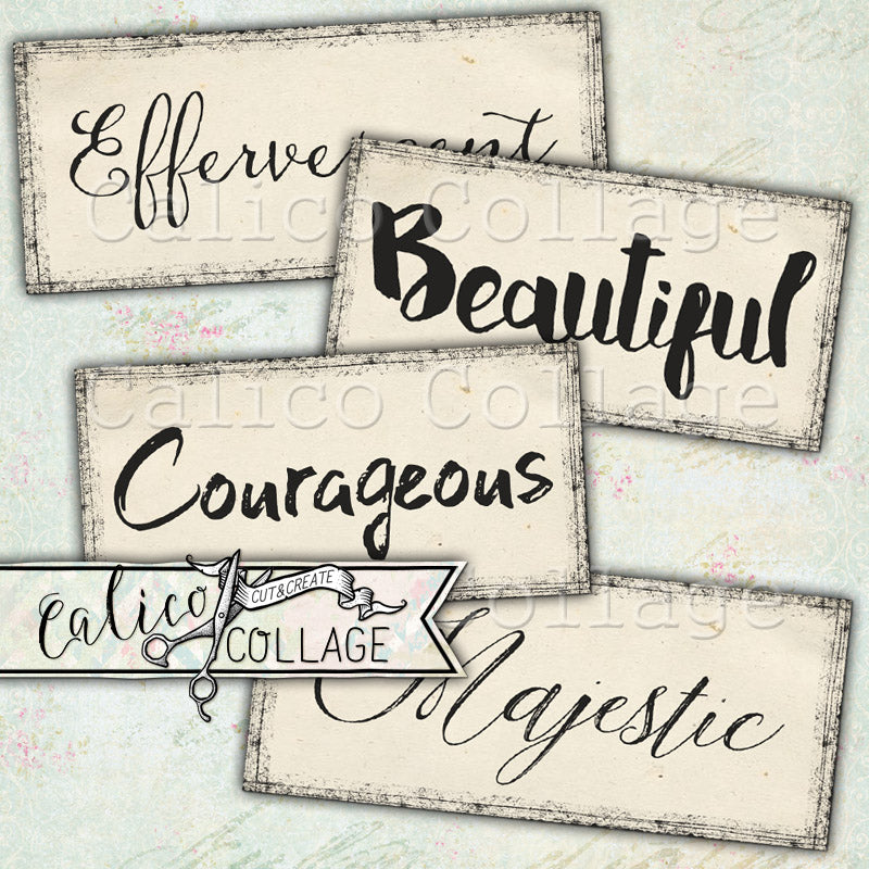 Printable Words, Positive Mixed Media Words