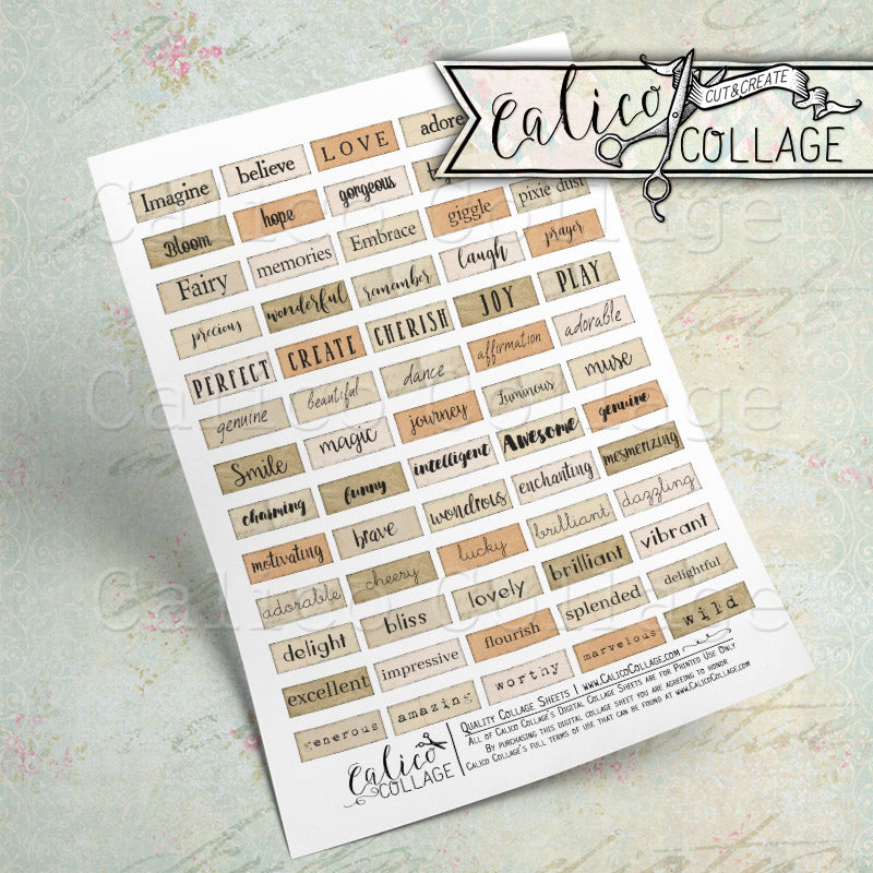 Small Words, Printable Mixed Media Words