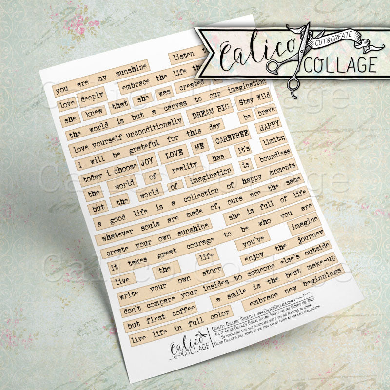 Positive Words & Sayings, Printable Mixed Media Words