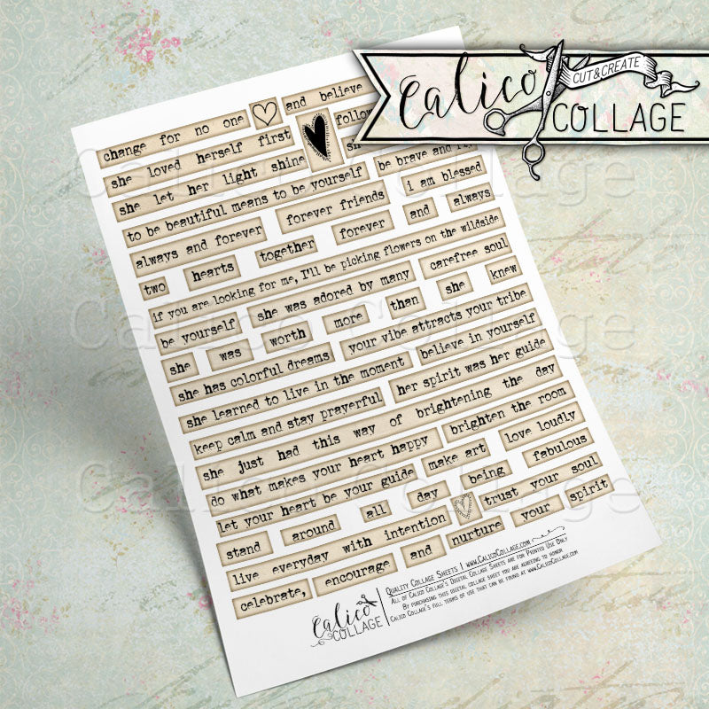 Printable Positive Sayings, Mixed Media Words