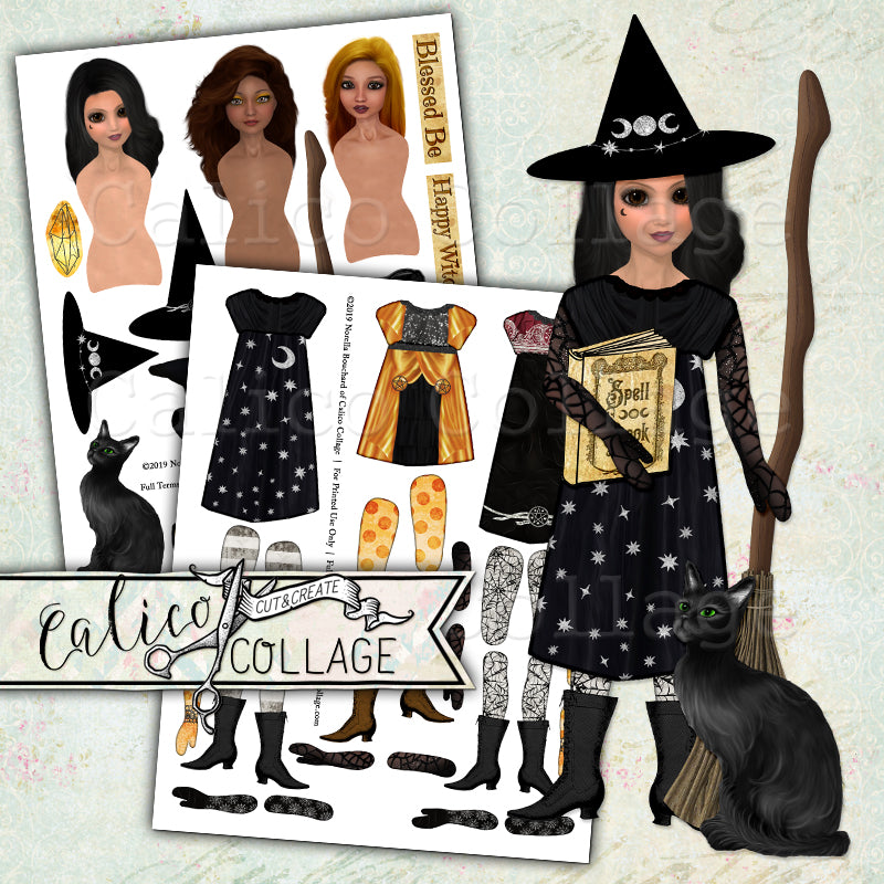 Little Witches Printable Paper Art Dolls