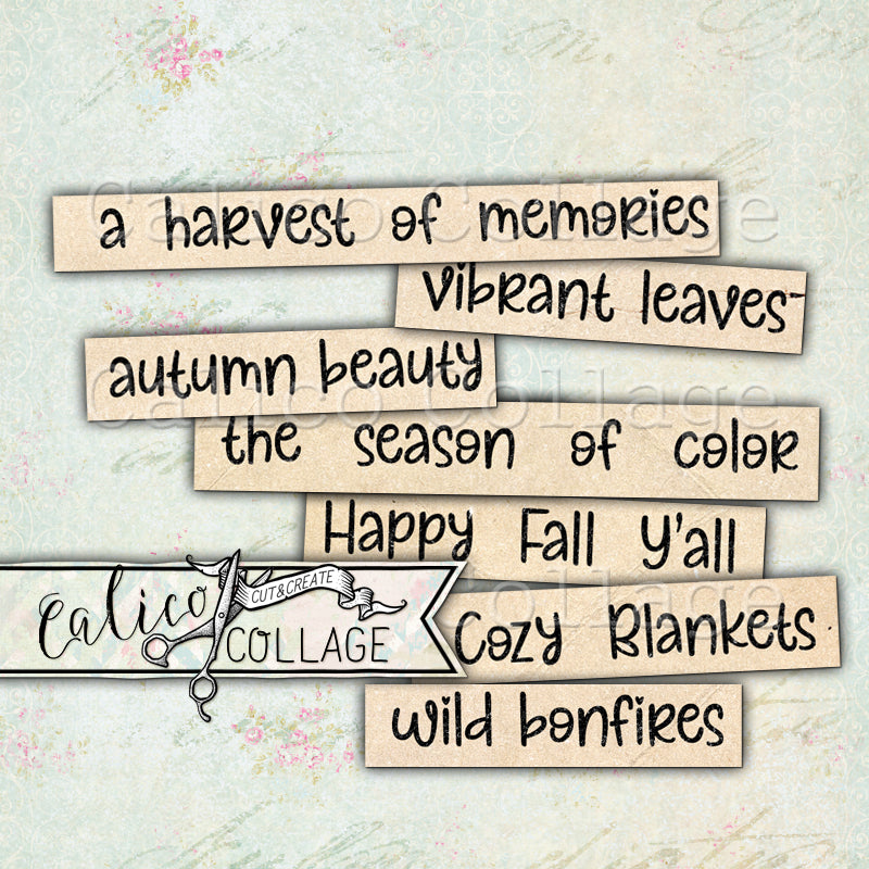 Autumn Themed Words and Phrases, Junk Journal Supply