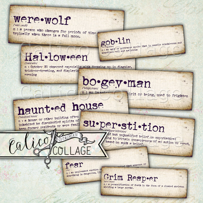 Halloween Dictionary Words