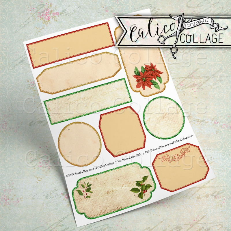 Vintage Christmas Mixed Sized Labels