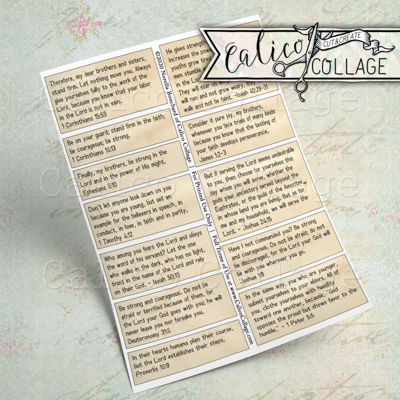 Gentleman Bible Verses Printable Mixed Media Words