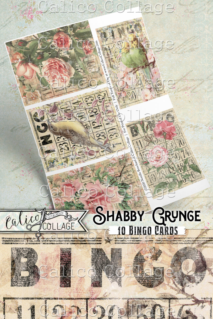 Printable Shabby Grunge Vintage Bingo Cards, Junk Journal Tags