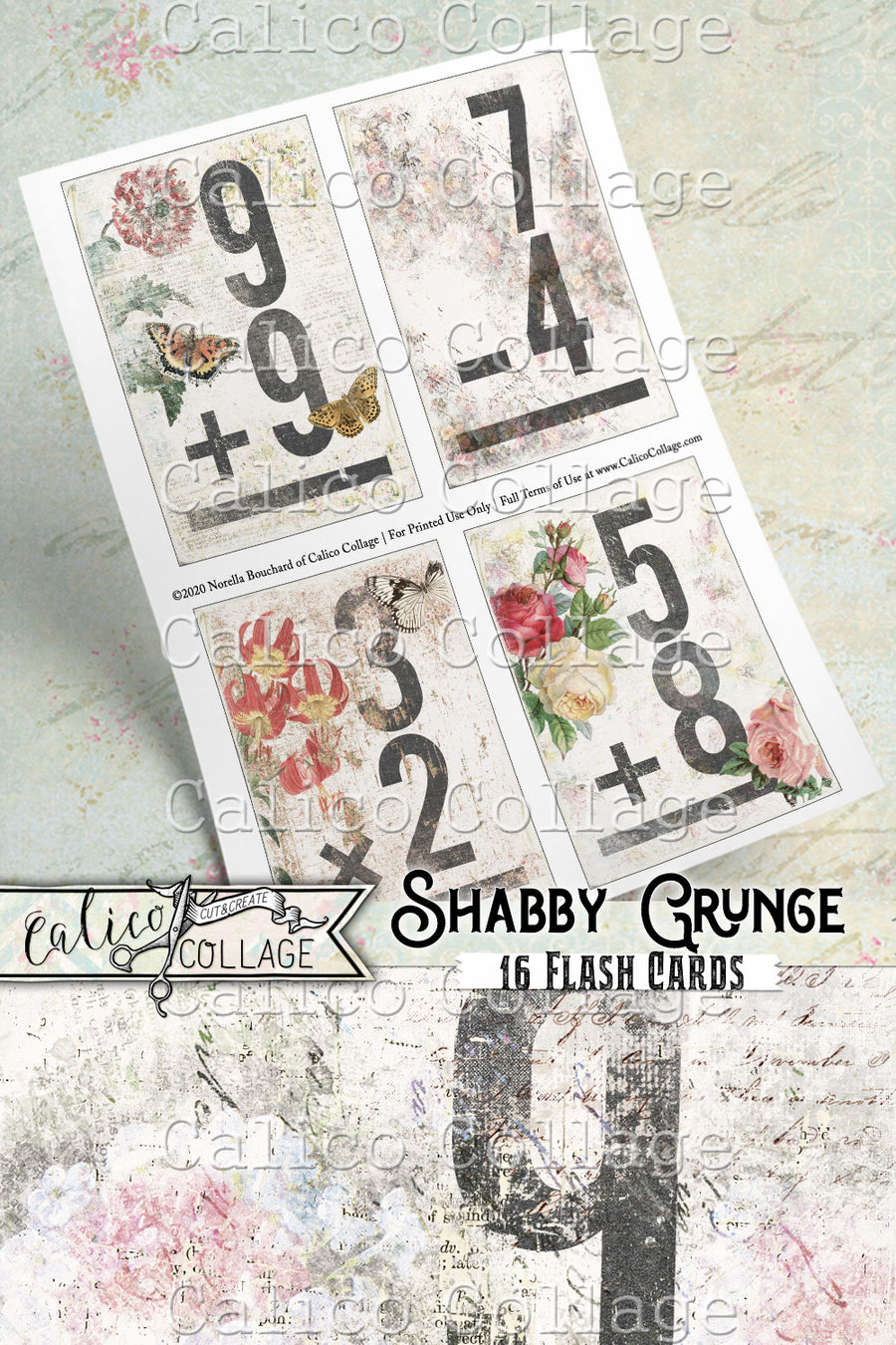 Printable Junk Journal Flashcards, Shabby Grunge