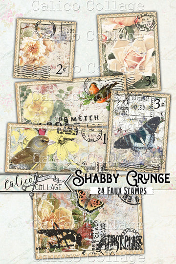 Printable Faux Stamps, Shabby Grunge