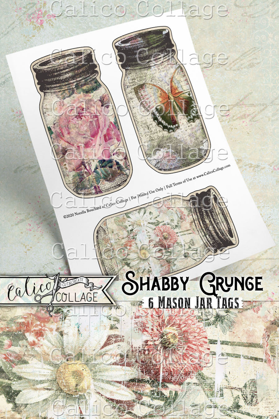 Printable Mason Jar Tags, Shabby Grunge