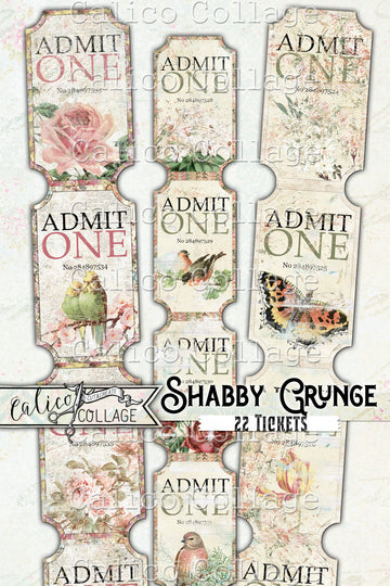 Printable Junk Journal Shabby Grunge Tickets