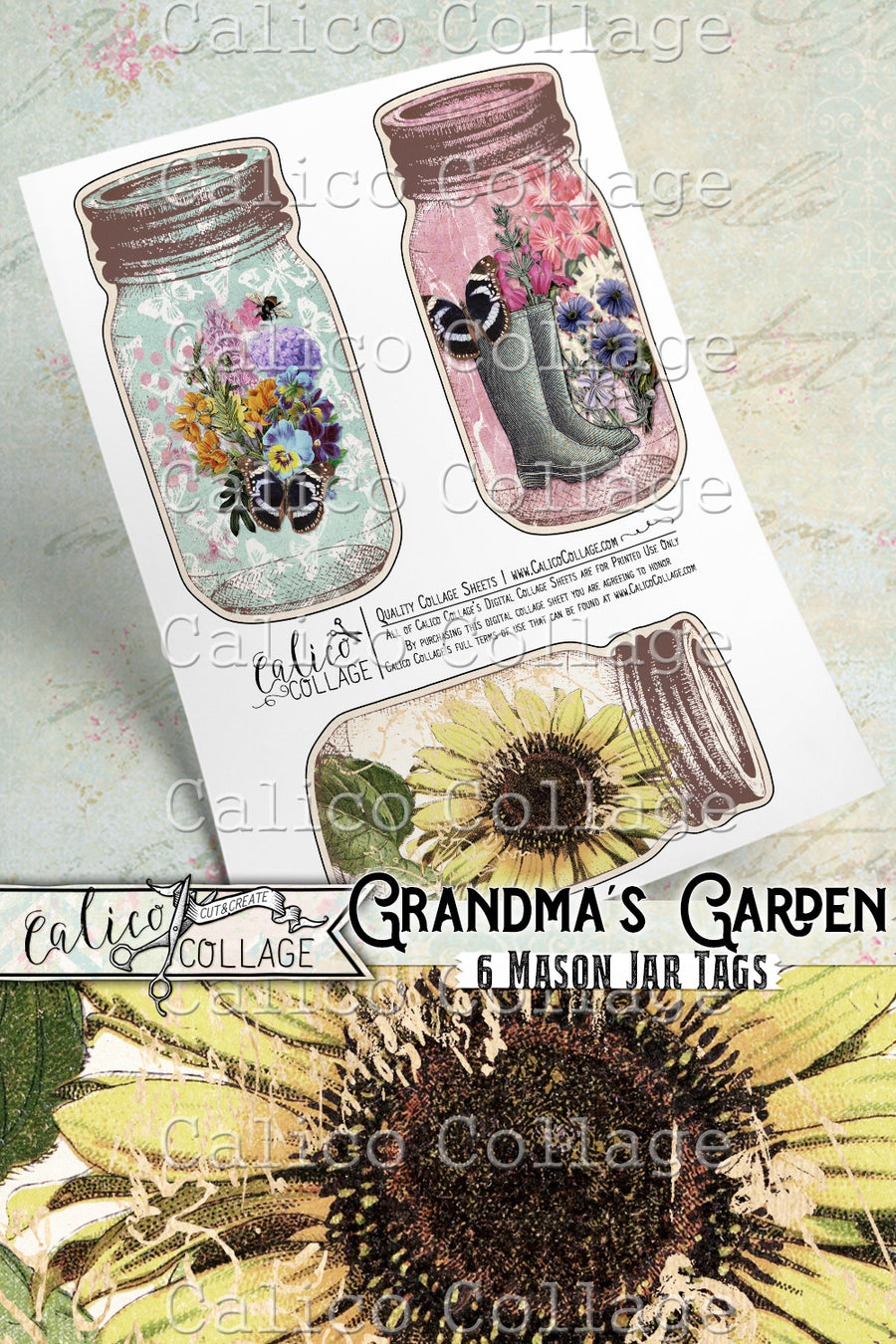 Grandmas Garden Printable Mason Jar Junk Journal Tags