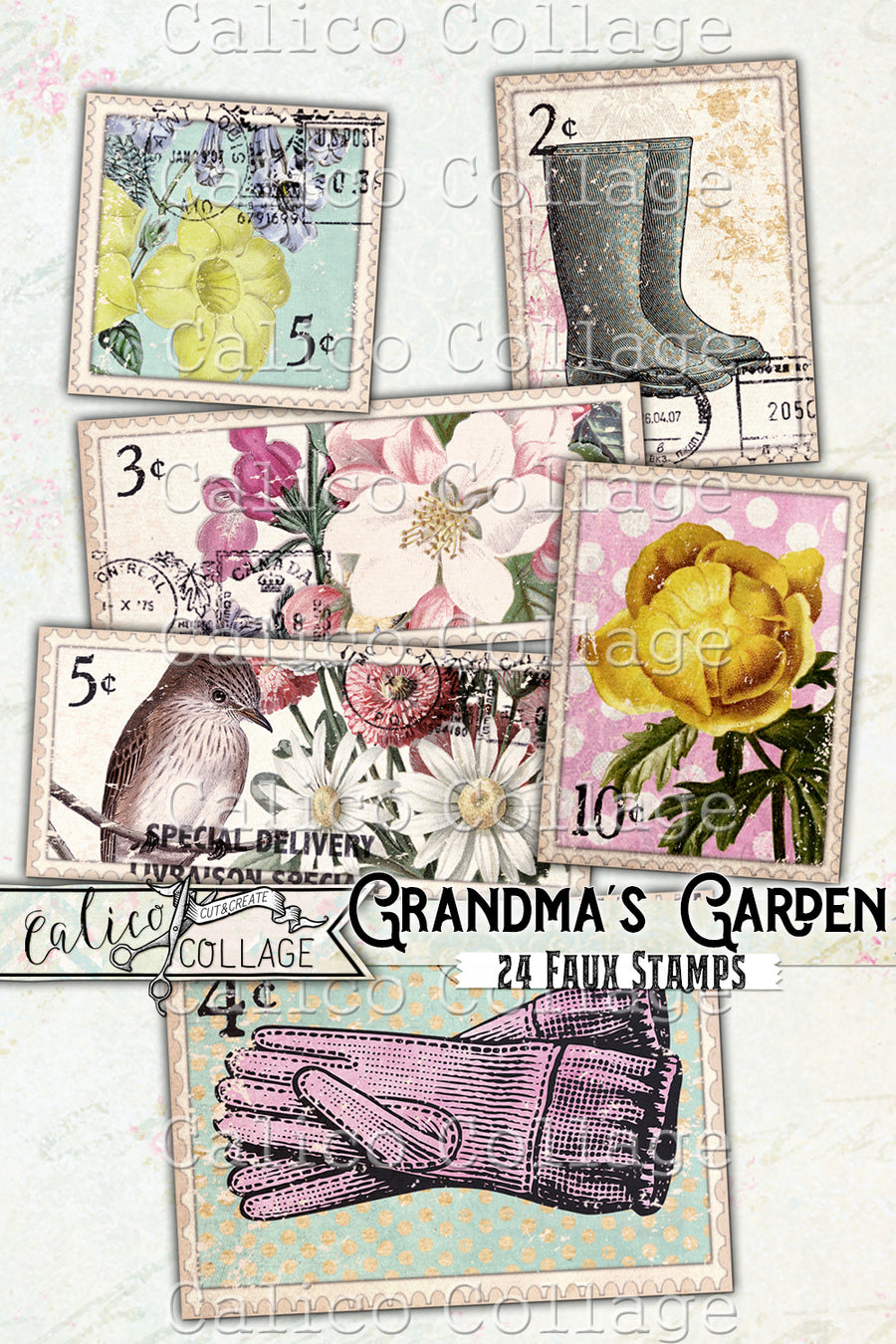 Printable Faux Stamps Vintage Ephemera