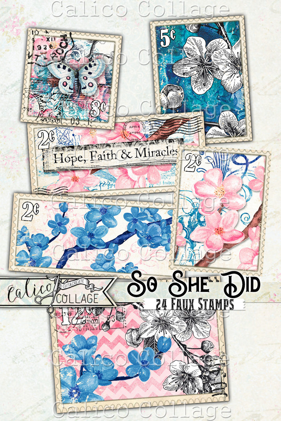 Printable Faux Stamps, So She Did