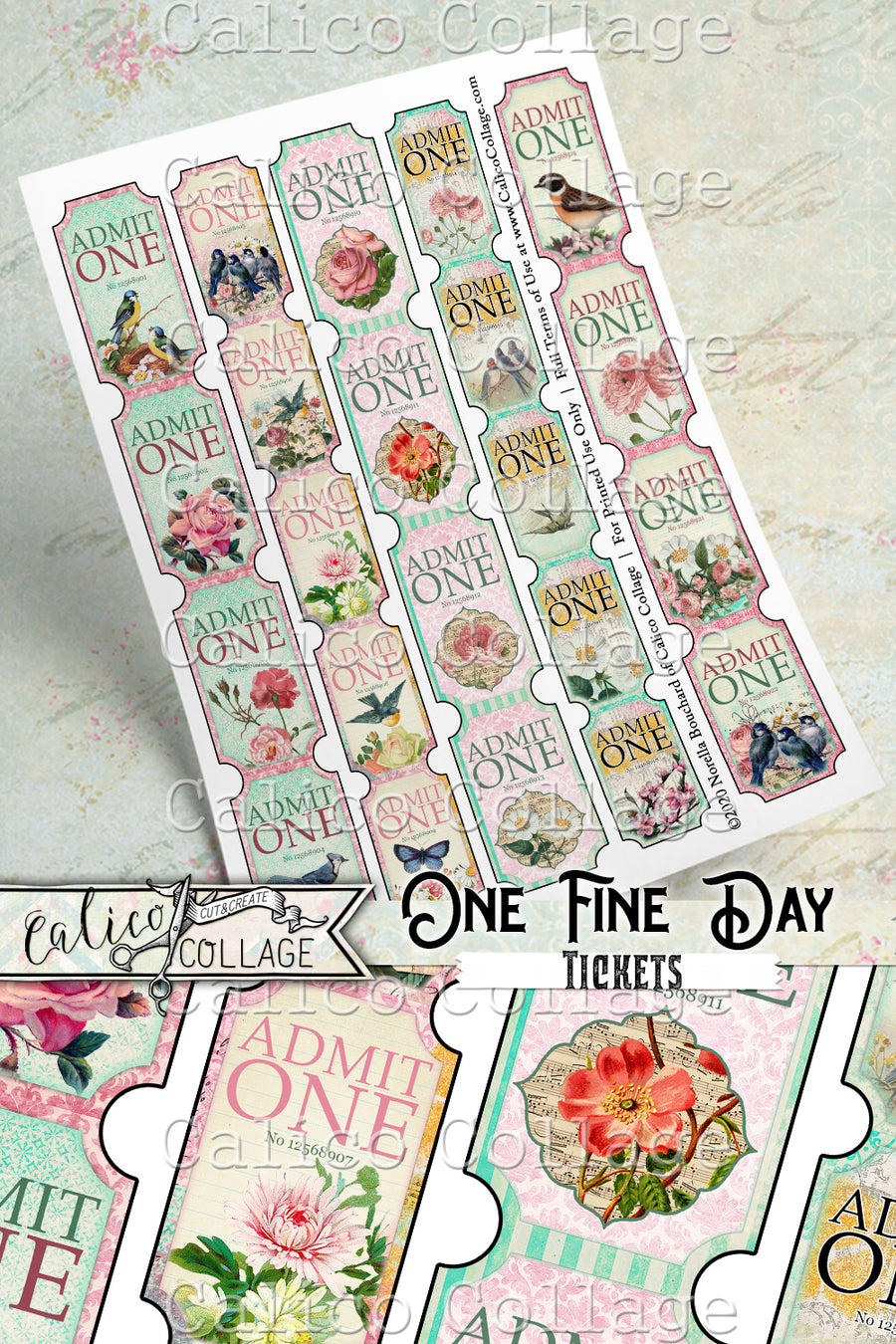 Printable Junk journal One Fine Day Tickets