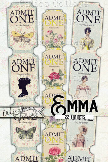 Printable Jane Austen Emma Tickets