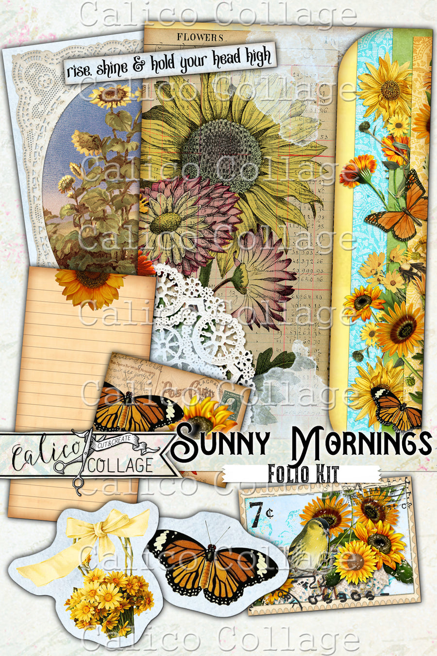 Sunny Mornings Junk Journal Folio, Sunflower Ephemera