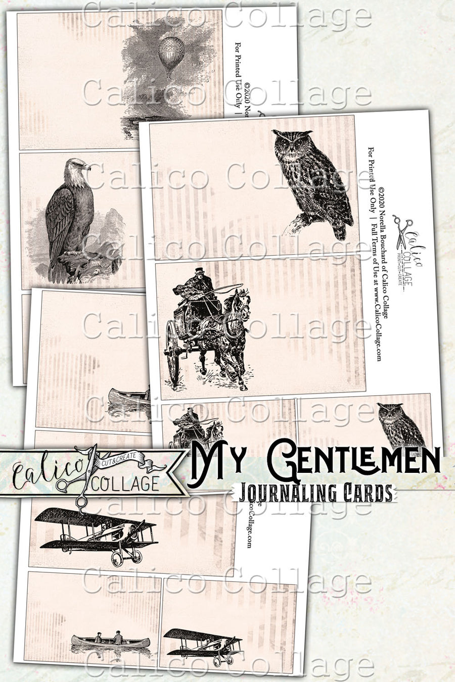 My Gentlemen Junk Journal Journaling Cards