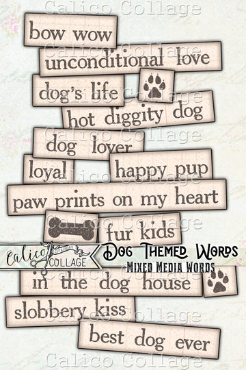 Dog Themed Printable Words