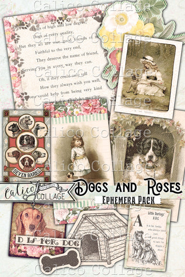 Dogs and Roses Junk Journal Ephemera Pack